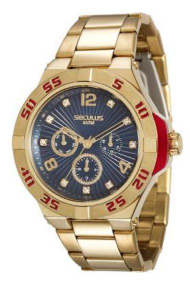 28779LPSVDS2 Relógio Feminino Dourado Seculus Analógico | Guest Club