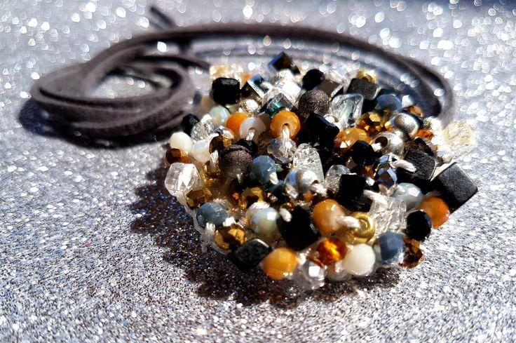 Handmade crochet bijoux Collana uncinetto - Pollock inspiration