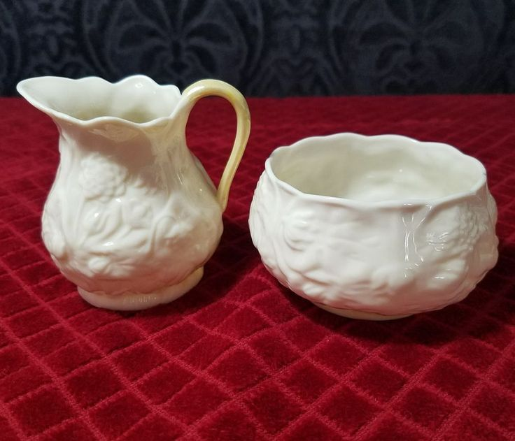 Belleek Floral Sugar Bowl and Creamer | Pottery & Glass, Pottery & China, China & Dinnerware | eBay!