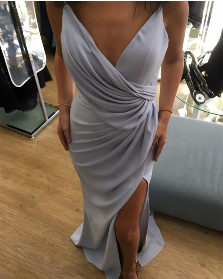 Silver Bridesmaid Dress,Long Mermaid Formal Dress,Sexy Mermaid Prom Dresses,Long Evening Gowns PD20185861