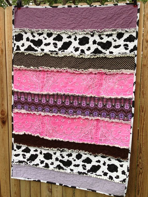 Cowgirl Rag Quilt, personalized label included, Western, cowboy chic, strip crib size, pink, purple, brown, guitar, cowhide, guitar, bandana...