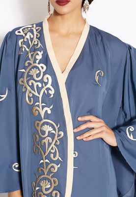 Shop Hayas closet blue Embroidered Abaya for Women in UAE