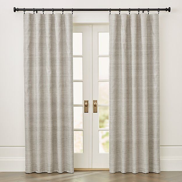 Silvana Grey Silk Blackout Curtain Panel Crate And Barrel