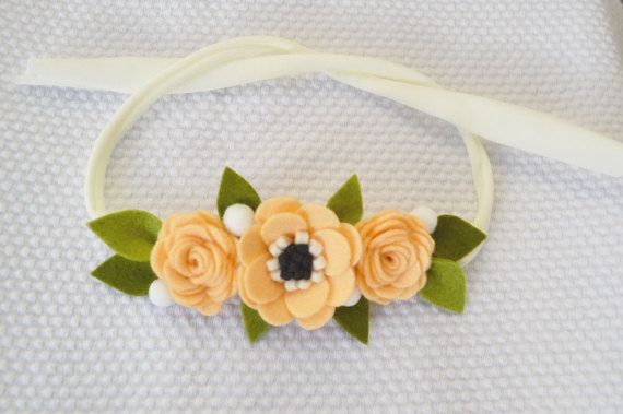 Headband with roses & anemone felt flowers in by CraftyCatgr
