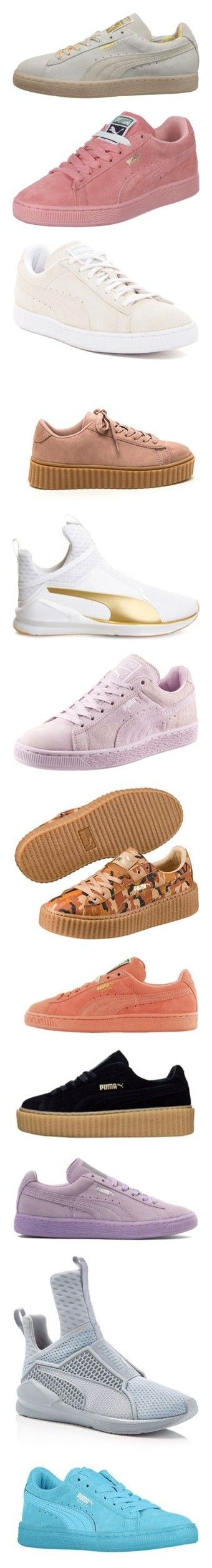 """""""Puma"""" by beautifully-weird ❤ liked on Polyvore featuring shoes, sneakers, cat shoes, cat print shoes, puma footwear, suede leather shoes, woven shoes, pink shoes, slip resistant shoes and anti slip shoes"""