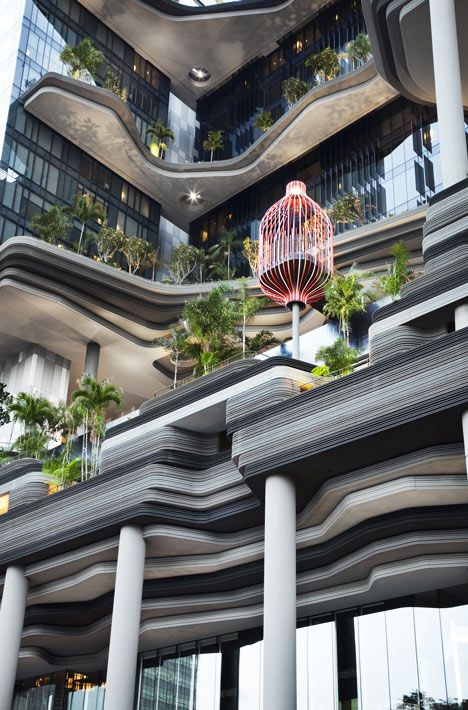 Plant-covered balconies and terraces which will give every guest a green view! PARKROYAL on Pickering by WOHA