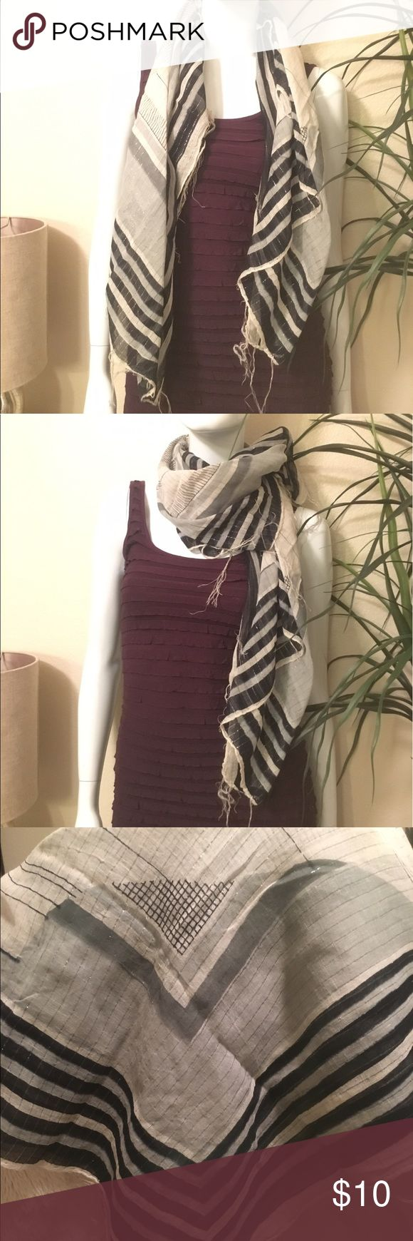 Geometric Scarf Black, white, grey and silver scarf with different patterns Accessories Scarves & Wraps