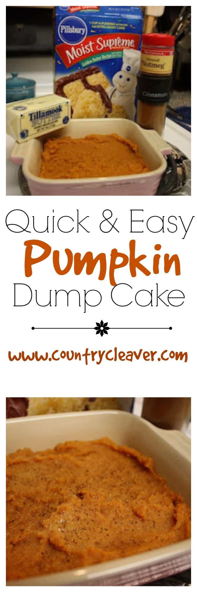 Pumpkin dump cake is a one dish miracle cake! Perfect for those quick nights you want dessert.