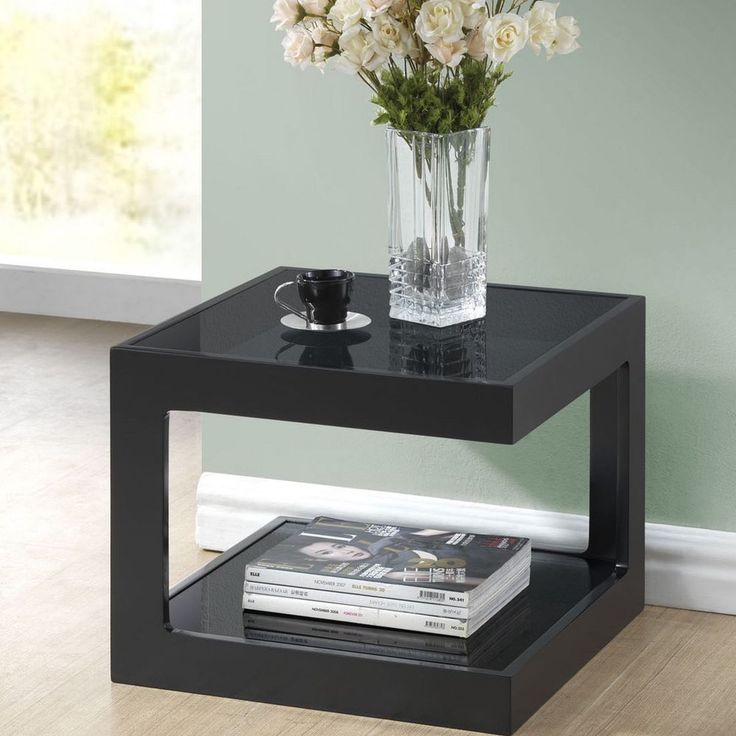 Contemporary End Table Glass Shelves Modern Black Finish Living Room Furniture #BaxtonStudio #ContemporaryModern #TableGlass #Table #Shelves #Furniture #ModernFurniture