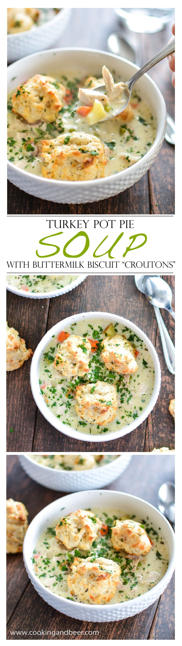 """Turkey Pot Pie Soup with Buttermilk Biscuit """"Croutons"""" is the perfect use for those Thanksgiving leftovers! 