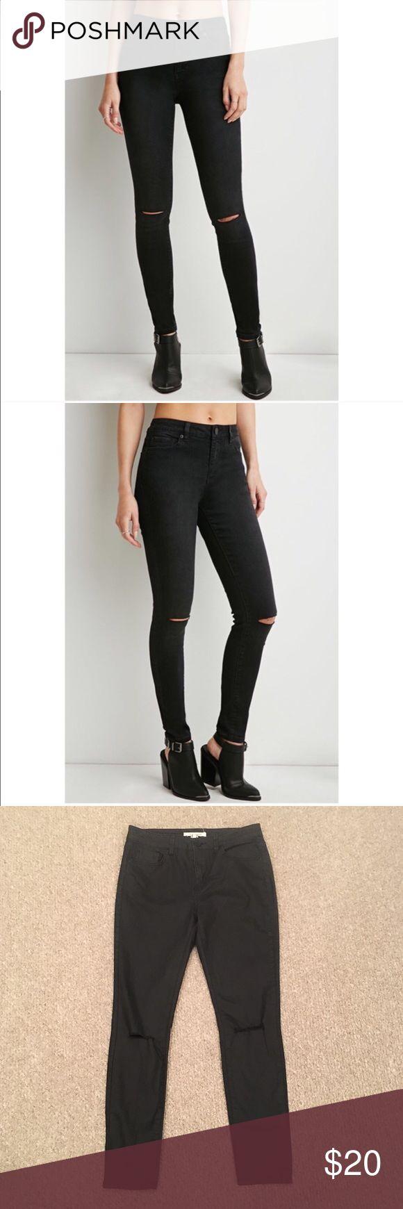 "Life in Progress Black Knee Hole Pants 27"" inseam Forever 21 Pants Skinny"