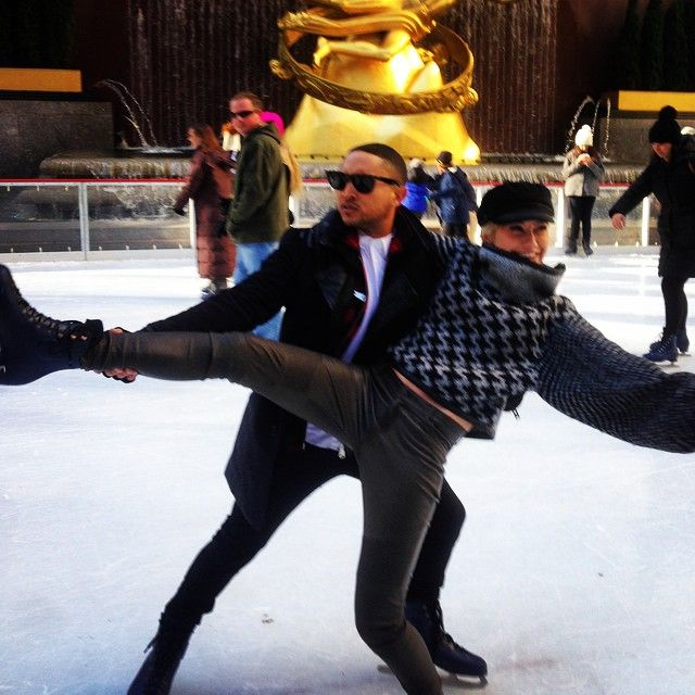 Tahj Mowry and Chelsea Kane show off their ice skating routine at Winter Wonderland. | Baby Daddy