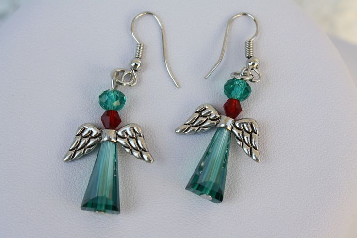 Ohrringe - Ohrringe Ohrhaken Schutzengel türkis rot Flügel - ein Designerstück von trixies-zauberhafte-Welten bei DaWanda
