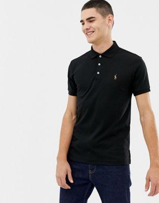 fe9658e09a Polo Ralph Lauren slim fit pima polo multi player logo in black in ...