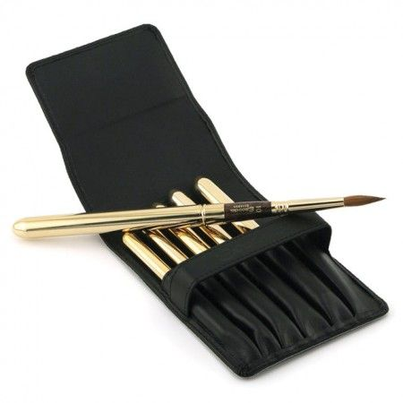 Escoda kolinsky sable travel water color brushes in leather case.