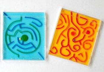 CD Case Mazes/Labyrinth - what a fun way to recycle empty CD cases!  This website has TONS of other kid's crafts
