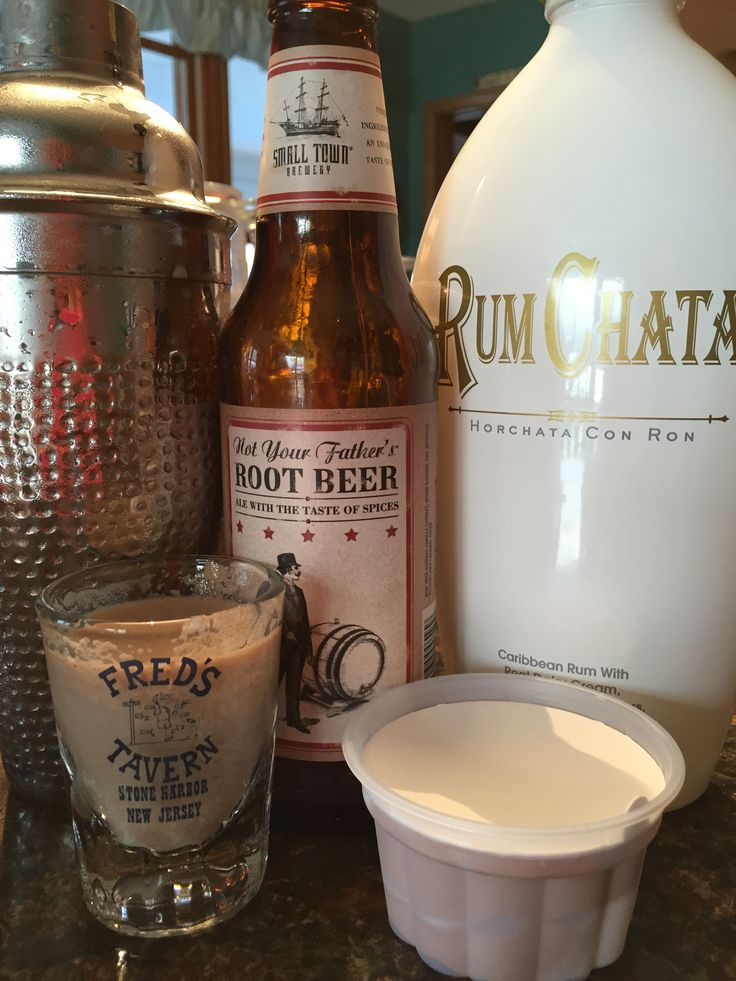 Rootbeer Float Shot Not Your Father's Rootbeer Rum Chata Dab of Ice cream Yummy !!!!!