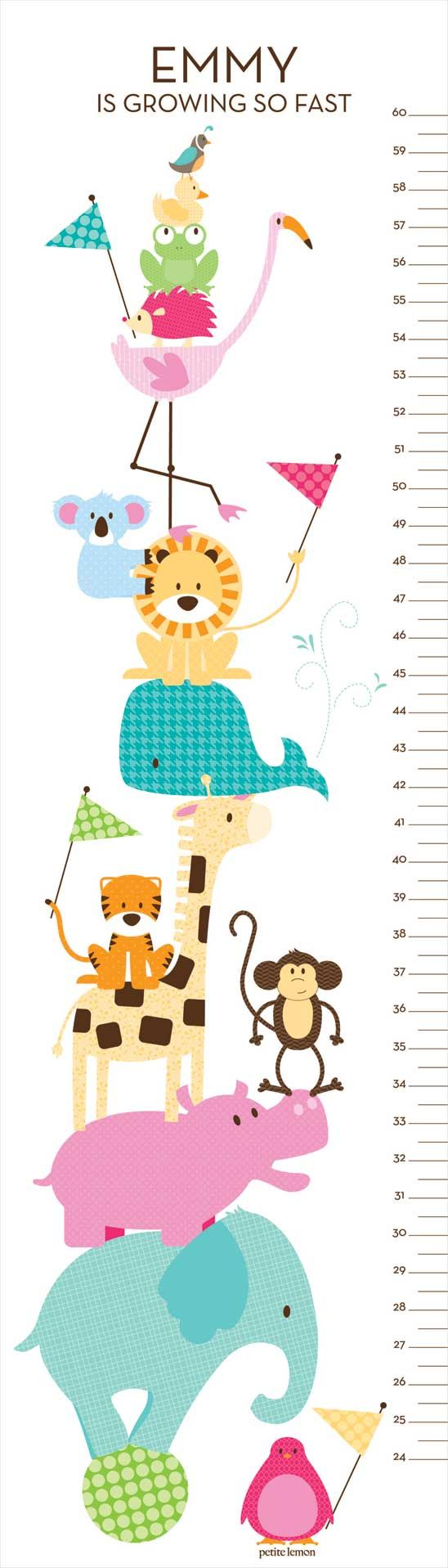 Zoo Friends - Tickle Me Pink. Fun Animal Themed Personalized Growth Chart. Frog, monkey, hippo — we've included all of his favorites in our Zoo Friends Animal Growth Chart. With a playful pile of animals all balanced atop a bouncy little ball, your little one is sure to enjoy spotting his favorite animals. Share in their joy while you capture his growth. Available in Ocean Blue, Tickle Me Pink, or Teal & Lime color hues.