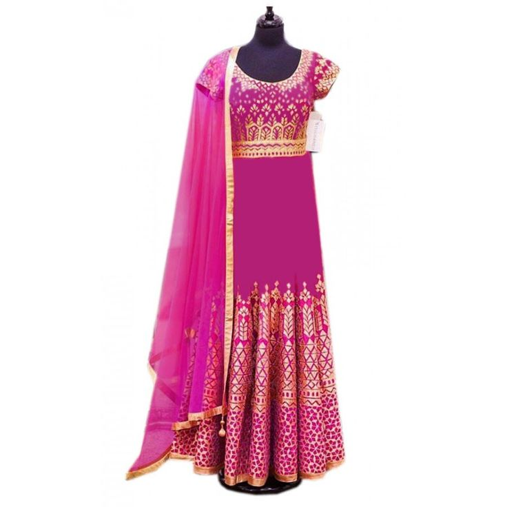Stylish Pink Color Heavy Embroiderey Work Semi Stitch Gown at just Rs.2235/- on www.vendorvilla.com. Cash on Delivery, Easy Returns, Lowest Price.