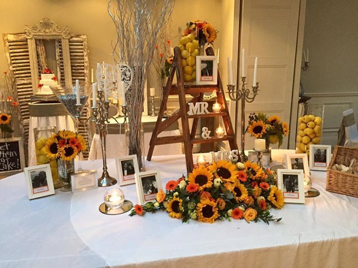 Wedding reception table decorations. Orange, yellow, grey & white theme - Blackbrook House