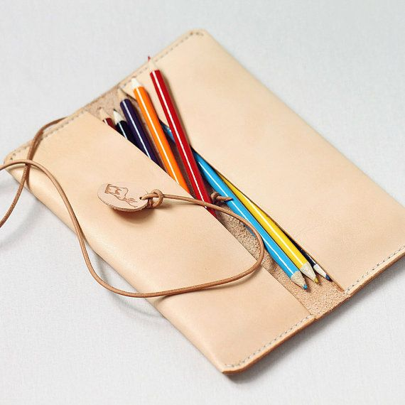 100 Handstitched Leather Pencil Case Multipouch by AnneSoye
