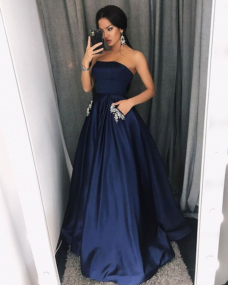 Elegant Strapless Navy Prom Party Dresses With Beaded Pocket Fashion Evening Gowns D Strapless Prom Dresses Military Ball Dresses Prom Dresses With Pockets