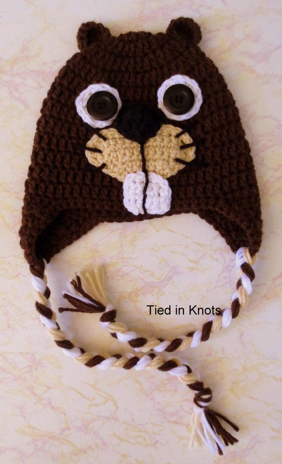 Beaver Crochet Earflap Hat  Beaver Hat for by TiedinKnotsCrochet