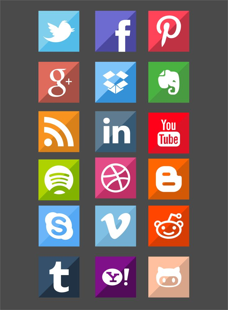 Flat style social icons designed by KPL
