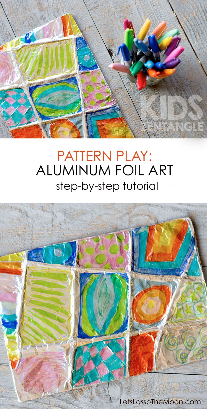 Zentangle Art: Easy Aluminum Foil Kids Project -- we've made 4 of these already, I love them!