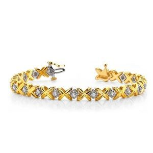 Ein Diamantarmband mit 1.00 Karat Diamanten aus 585er Gelbgold und Weißgold gefertigt. Dieses Diamantarmband ist erhältlich bei www.juwelierhausabt.de in Dortmund.