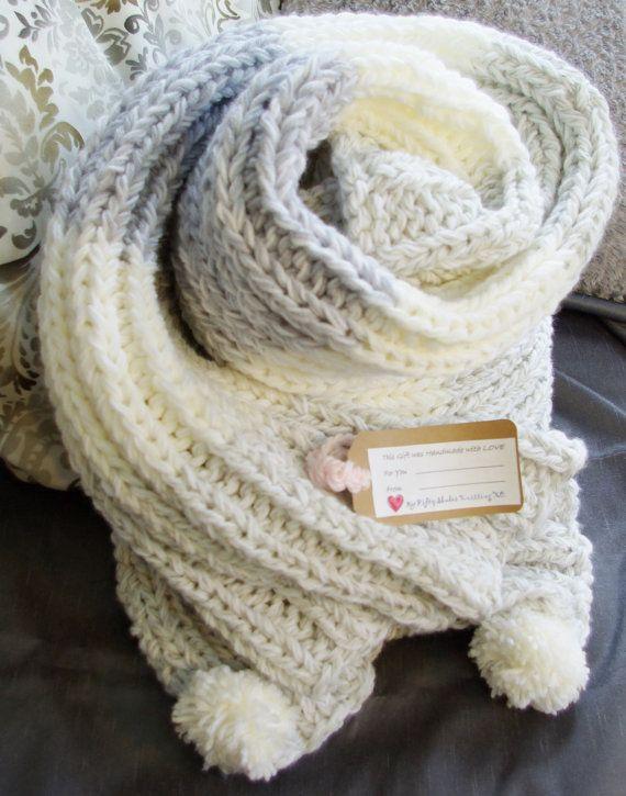 Luxury white grey Knitted Blanket Throw for by 50shadesknittingXO