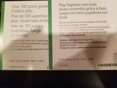 Just got these with my Xbox one x if anybody wants it... 14 free days of Xbox live gold and 1 month free Xbox game pass