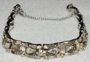 * Like TheVintedgeCo on Facebook!! You could **SAVE ON SHIPPING** PRIOR to purchase; like our facebook page for details. * The LEDO ART DECO Vintage Rhinestone Jewelry Silver Bracelet; SIGNED; costume. * material: silver-plated metal. * measures: ...