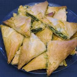 Cheesey Spinach Filo Triangles