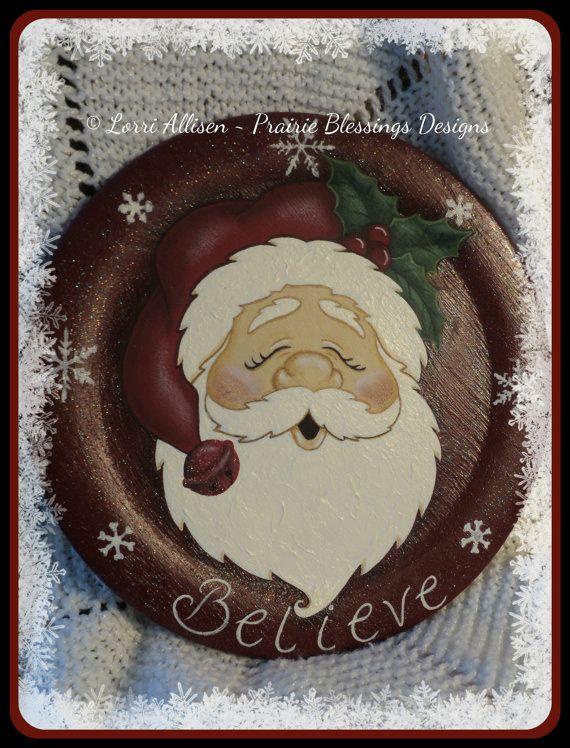 Santa painting pattern packet instant by LorriAllisenDesigns