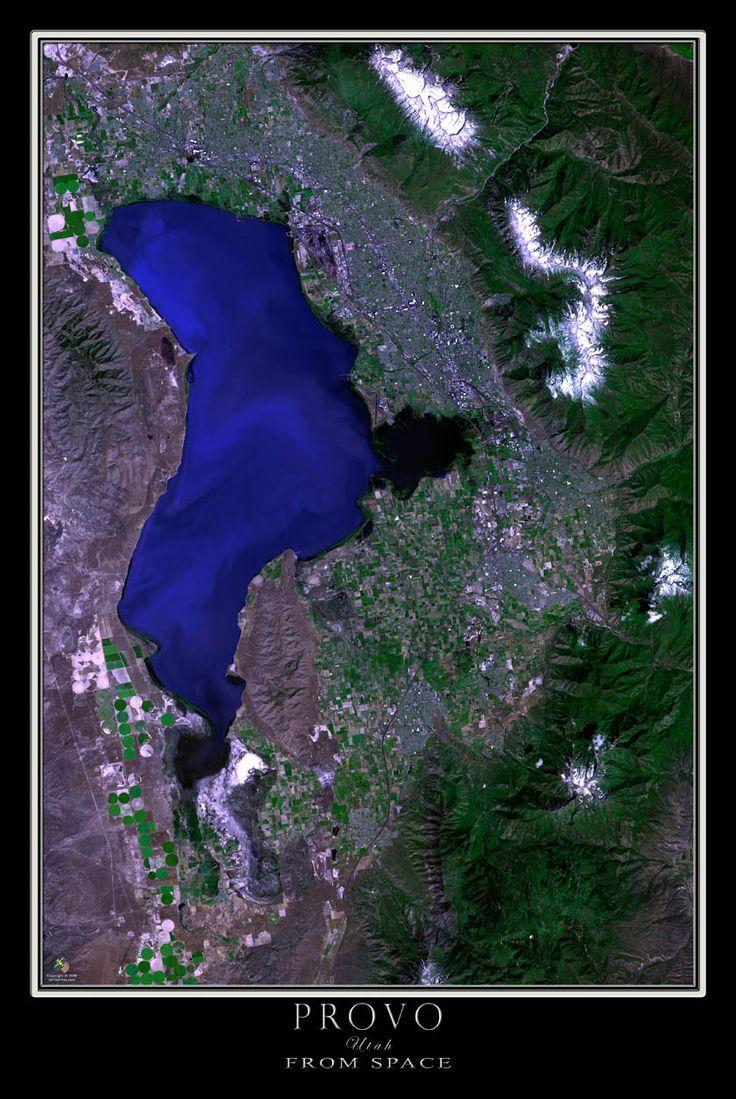 Provo u0026 Utah Valley Satellite Poster Map