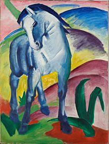 Franz Marc, Blue Horse I, 1911  Der Blaue Reiter (The Blue Rider) was a group of artists united in rejection of the Neue Künstlervereinigung München in Munich, Germany.    http://en.wikipedia.org/wiki/Der_Blaue_Reiter