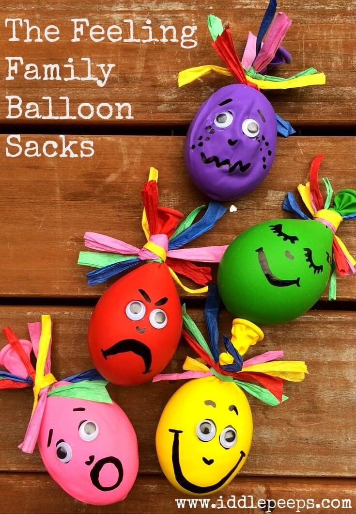 The Feeling Family Balloon Sacks Iddle Peeps Kids Activities - www.iddlepeeps.com