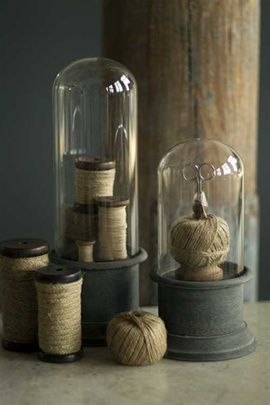 Bell Jars w/ metal bases and twine * My obsession with bell jars/cloches @ Mothology