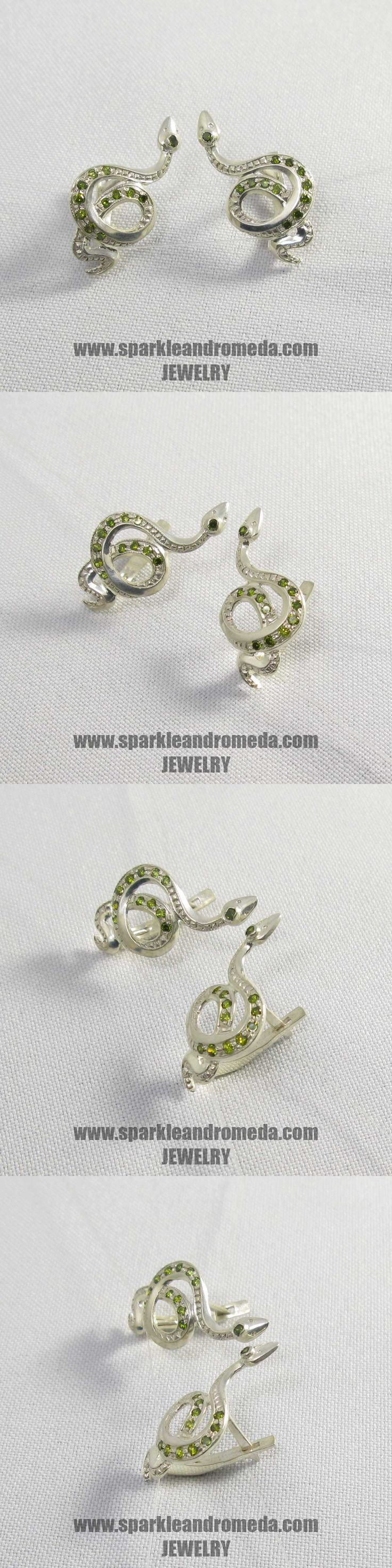 Sterling 925 silver earrings with 2 round 1,75 mm 6 round 1,5 mm 8 round 1,25 mm green peridot color cubic zirconia gemstones.