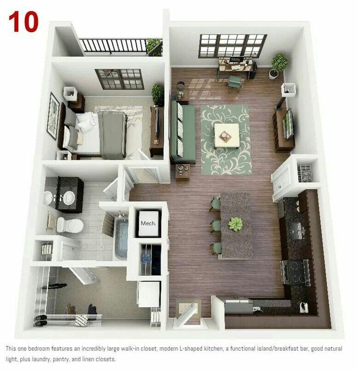 45 best Plantas e maquetes 3D images on Pinterest Small houses - plan maison plain pied 80m2