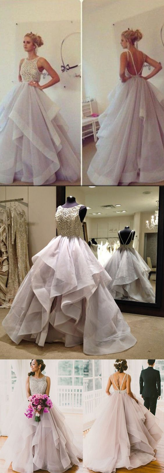 Backless Prom Dresses Glamorous Ball Gown Lace Puffy Tulle Long Sexy Evening Gowns For Teens Juniors Dress - Thumbnail 1