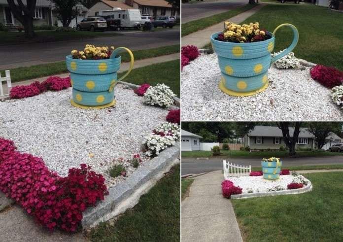 una fioriera tazza di tè    Luz a Hometalk creato questo tazza da tè fioriera con l'aiuto del marito. Ha dipinto tre pneumatici in colore turchese e ha aggiunto Dandy pois gialli. Dopo che li impilati, ha aggiunto un manico e si è formata una tazza di tè. Una volta che la tazza si è formata ha riempito con il suolo e fiori piantati. Si può anche dare un colpo a questo progetto e ricreare questo fioriera tazza da tè che sarai felice di aggiungere al vostro giardino.   11 Aggiungi il tuo…