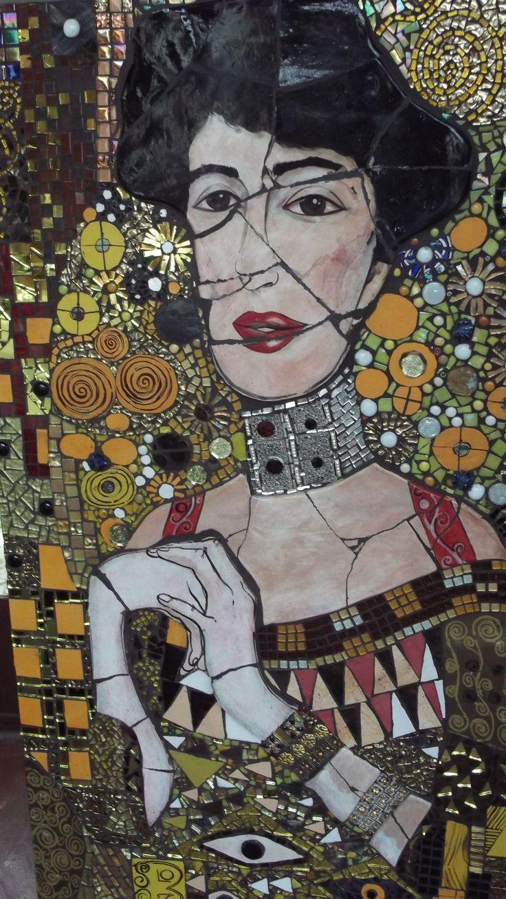 "Mix Media: Gustav Klimt ""Adele Bloch Manor"" Student work tutored by Craft at Fourways ""One of a Kind"""