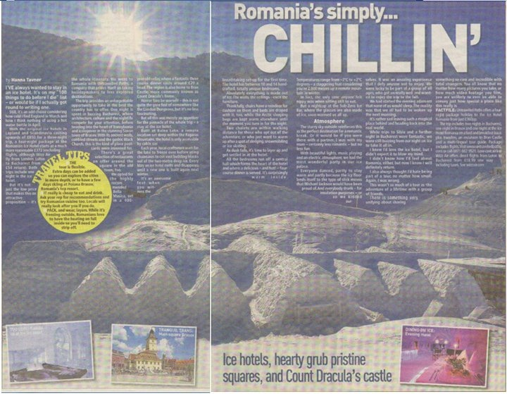 Ice Hotel Romania featured in The People Newspaper. Jan 2011. untravelledpaths.com