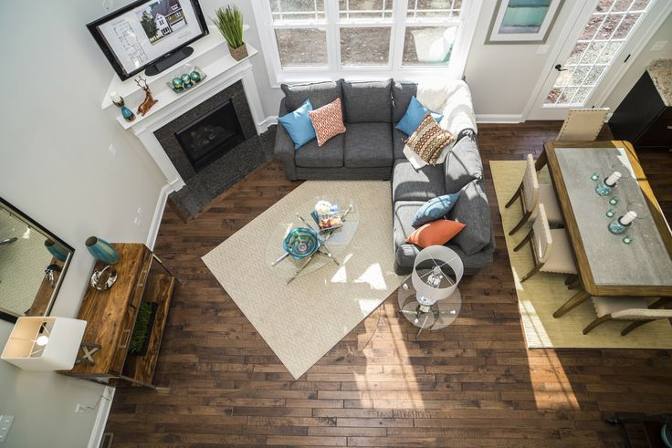 A view from above in our spectacular Dayton model with soaring ceilings, cottage style windows and open airy floor plan.