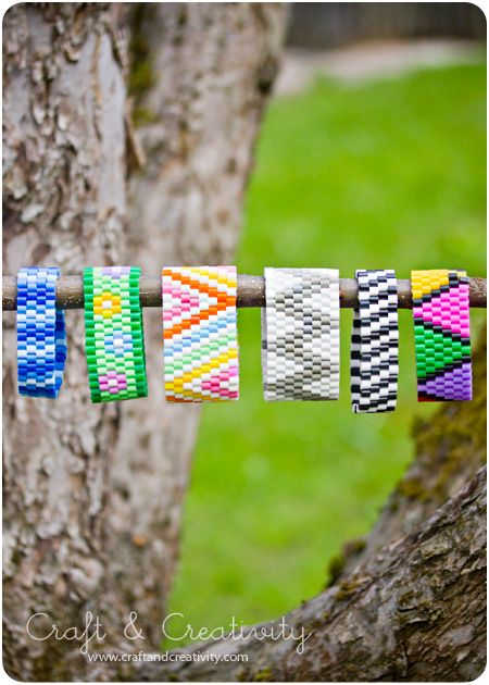 DIY: Chevron pattern perler bead bracelets! All you need are Perler beads, elastic thread, a loom and a needle.