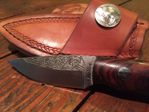 Handmade Texas hunting knife with hand by LarryNyeEngraving