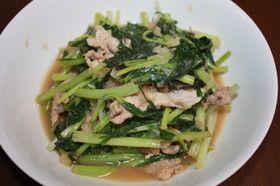 簡単!水菜と豚肉のおろしポン炒め
