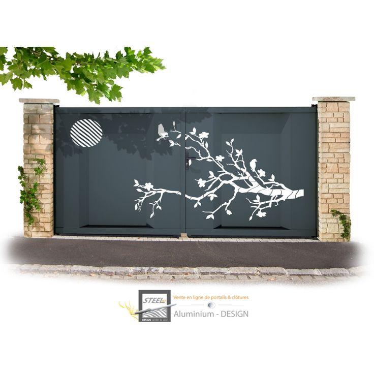 Portail aluminium battant Modèle ZEN, portail alu design rapport qualité prix. En tube et tôle aluminium de 4 mm avec motif en découpe laser thermolaqués